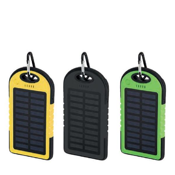 Power Bank in plastica e gomma a energia solare, con astuccio e cavo inclusi